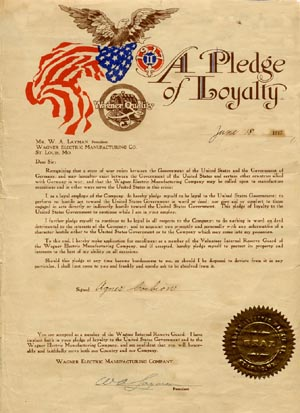 Loyalty pledge Wagner Electric St. Louis World War I